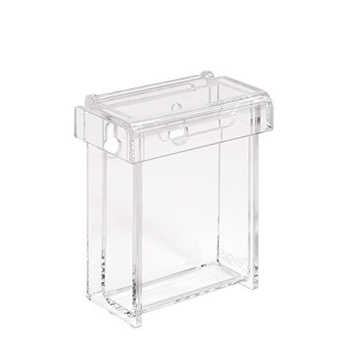 Zeigis - Tarjetero para tarjetas de visita en formato vertical para exterior con tapa, resistente a la intemperie, de cristal acrílico, para tarjetas de visita, para exteriores y transparentes