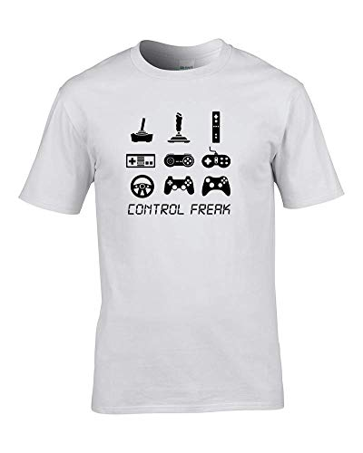 Ice-Tees Control Freak- Gamer Fanboy- Nerd, Geek Youth Girl T-Shirt de Blanco blanco 5-6 Años