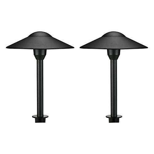 Lumina Low Voltage Landscape Lighting Cast-Aluminum Outdoor Path and Area Light Warm White 3W G4 LED Bulb and ABS Heavy Duty Ground Stake Included for Yard Walkway Lawn - Black PAL0101-BKLED2 (2PK) Cast Aluminum Outdoor Lighting