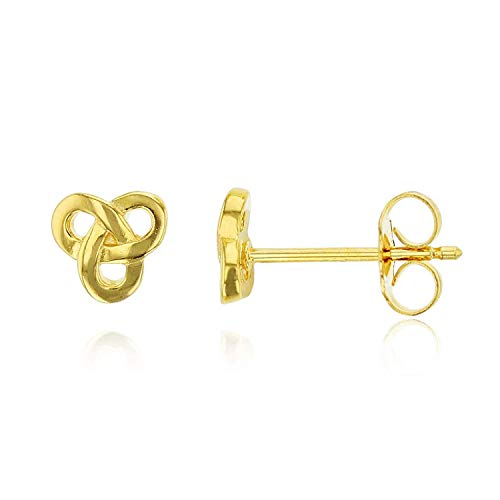 Gold Plated 925 Sterling Silver Plated Celtic Knot Stud Earrings for Women and Girls | Celtic Knot Stud Earring | Secure Back | 14k Yellow Gold Plated