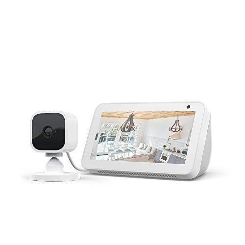 Echo Show 5, Blanc + Blink Mini Caméra, fonctionne avec Alexa