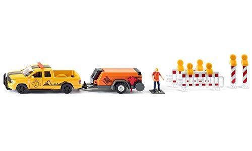 siku 3505 Pick-up RAM 1500 con remolque de compresor, Incl. barreras y figura de juguete, 1:50, Metal/Plástico, Amarillo/Naranja