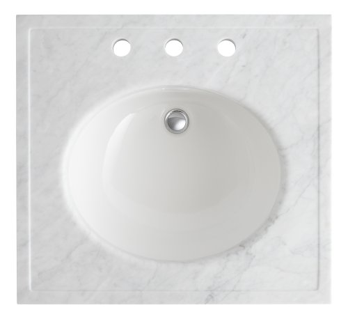 Fantastic Deal! Kohler K-3023-WH Kathryn 24 X 22 Marble Console Tabletop with 8 Centers, White Ca...
