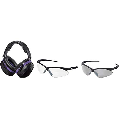 AmazonBasics Safety Ear Muffs Ear Protection, Black and Purple, and Safety Glasses, Clear Lens and Smoke Lens