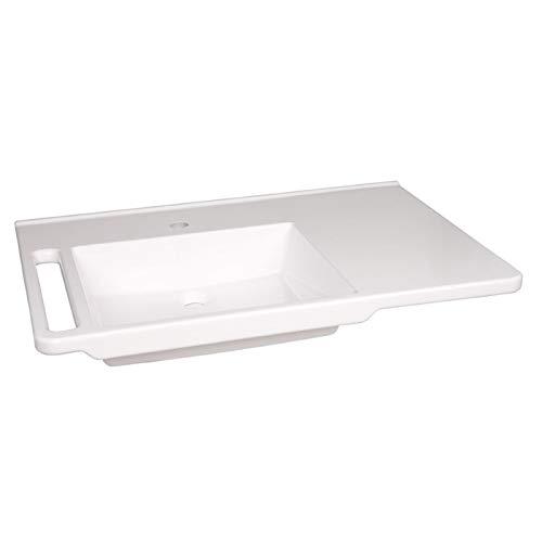 KIBOMED GTM-803 Senioren-Waschbecken weiß | 800x555mm | ohne Überlauf-Schutz | Waschbecken links | einfache Griffkante & Handtuchhalter | behindertengerecht | Rollstuhl unterfahrbar