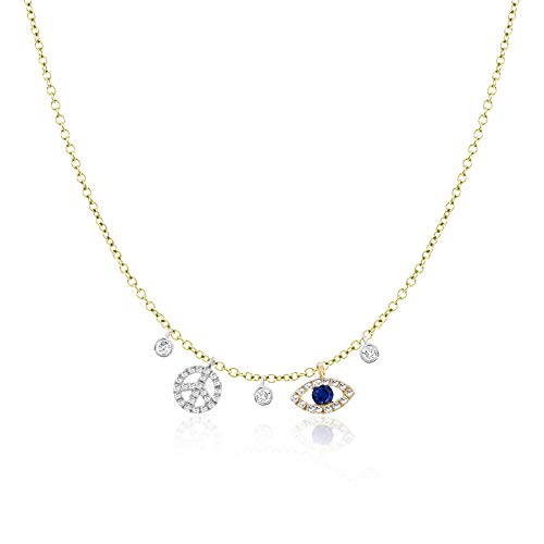 Meira T Womens Yellow and White Gold and Diamond and Sapphire Peace Sign and Eye Pendant Necklace on 16-18 Inch Adjustable Chain -  n12979/tY