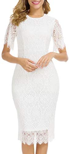 Women s White Lace Party Lace Bodycon Women s Elegant Round Neck Floral Short Sleeve Lace Cocktail product image