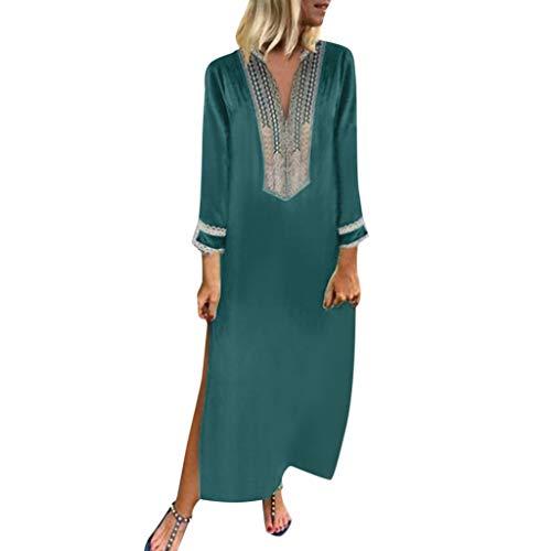 manadlian Robes Longues Femmes Maxi Robes Femmes Long Robe Vintage Shirt Robes T-Shirt Imprimé Floral sans Manches Dress O-Neck Robes Grande Taille Dress