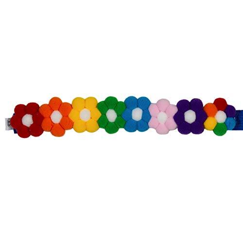 PAWHITS Collar para perro y gato, 2 unidades, diseño de bola de pelo arco iris con velcro para mascotas
