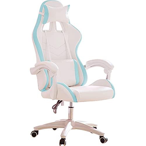 Gaming Bürostuhl, Computerstuhl Ergonomischer Videospielstuhl Rückenlehne und Sitzhöhe Verstellbarer drehbarer Recliner E-Sports Stuhl mit Kopfstütze und Lendenkissen Blau-B
