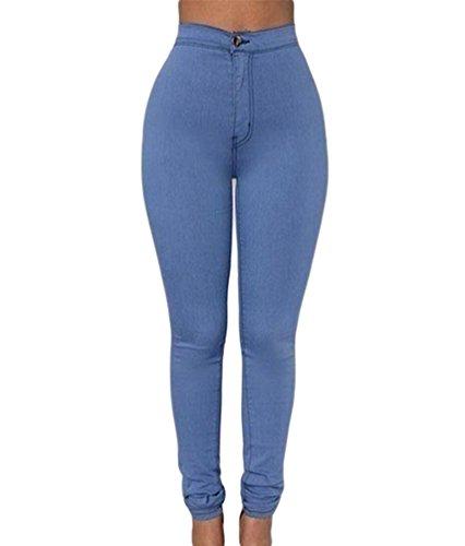 Preisvergleich Produktbild ZKOO Damen Jeanshose Skinny Strecken Denim Hose Jeans Hüfthose Baumwolle Hüftjeans Bleistift Hosen Röhrenjeans Legging Hell Blau