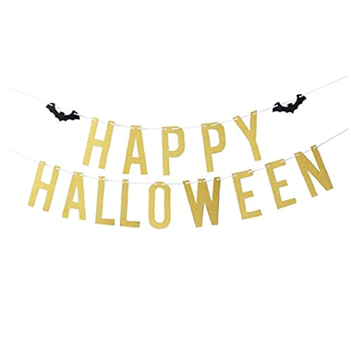 TongICheng Halloween Letter Banner Reusable Paper Banner Halloween Letter Banner with Bat Gold Glittery Happy Halloween Bat Banner for Halloween Party Decoration Supplies Happy Halloween Gold and Bat