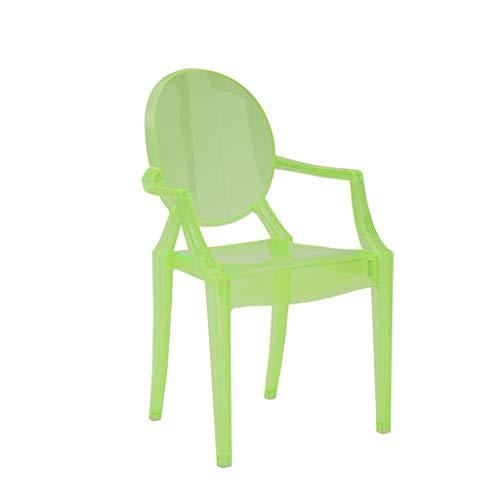 CJH Nordic Creatieve Transparante Armleuning Kinderstoel Thuis Kunststof Kristal Acryl Eetstoel Groen