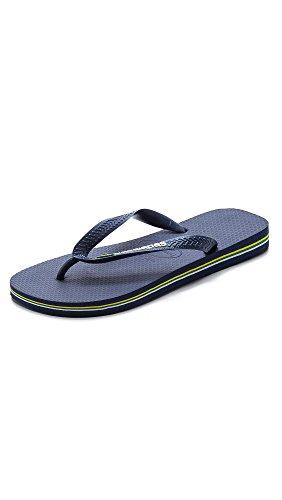 Havaianas Women's Brazil Logo Flip Flop Sandal, Navy Blue, 8