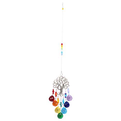 Cabilock Arbre de Vie Pendentif Cristal Suncatcher Tenture Murale Arbre Fenêtre Prisme Ornement Arc-en-Ciel Capteur de Soleil pour Chambre Bureau à Domicile Jardin Décor (Coloré)
