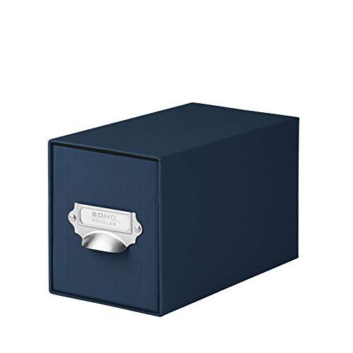 Rössler  1327452900 - S.O.H.O. Aufbewahrungs CD-Schubladenbox, mit beschriftbarem Einsteckschild und Griff, navy