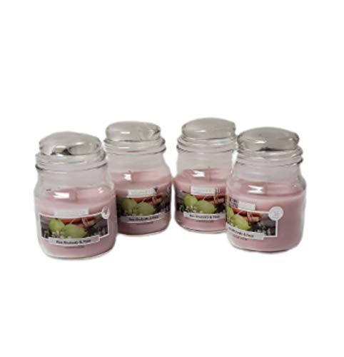 Wickford & Co Scented Candle Jars Luxury Fragranced for Home Pack of 4 Candles (4X Pink Rhubarb & Pear)