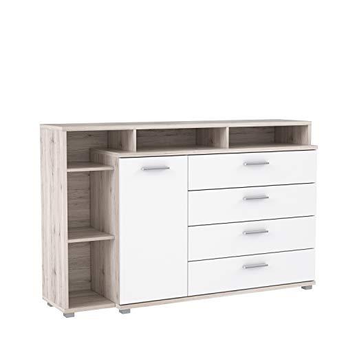 FORTE Sideboard mit vier Schubkästen, einer Tür und offenen Fächern, weiß