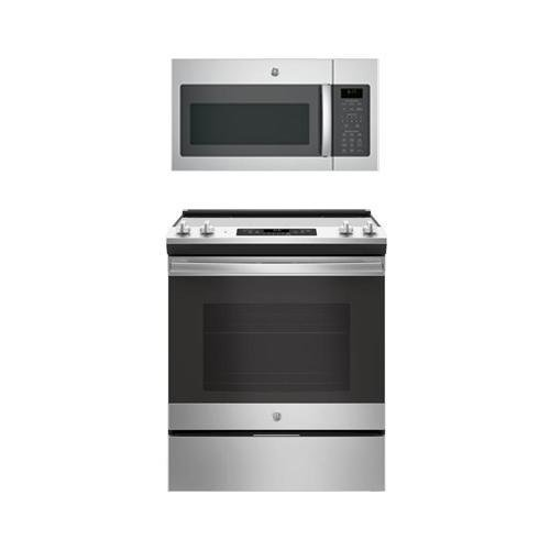 "GE 2-Piece Stainless Steel Kitchen Package with 30"" Slide In Range and Over the Range Microwave Hood"