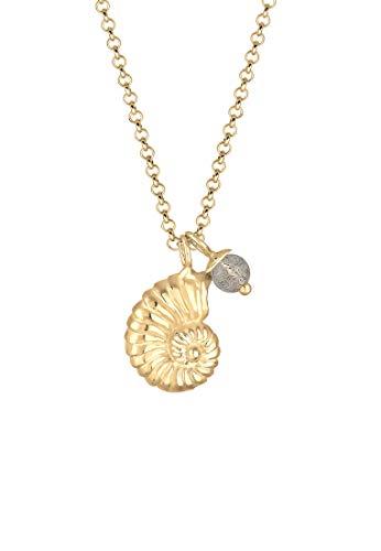 Elli Halskette Muschel Labradorite Edelstein 925 Sterling Silber