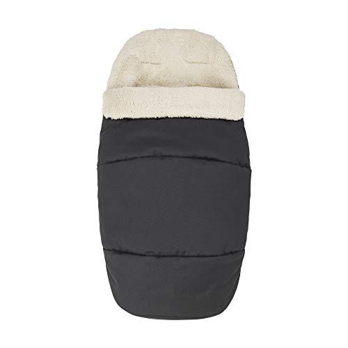 Maxi-Cosi kuschelig weicher 2-in-1 Fußsack, geeignet für alle Kinderwagen, auch als Sitzpolster verwendbar, schwarz