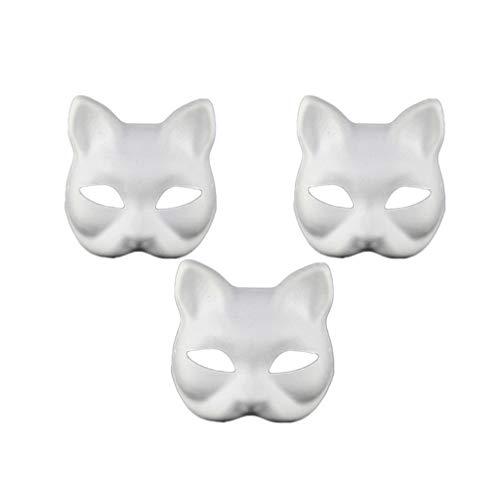Toyvian 3 Piezas en Blanco máscara Gato Blanco Liso DIY máscaras de Papel para niños Cosplay Halloween