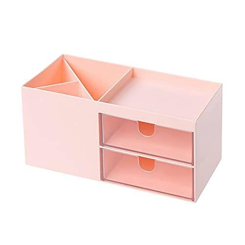 Organizador de escritorio Caja de almacenamiento ABS ahorro de espacio para bolígrafos contenedor organiza papelería suministros de oficina regalos ideales para niños (rosa)