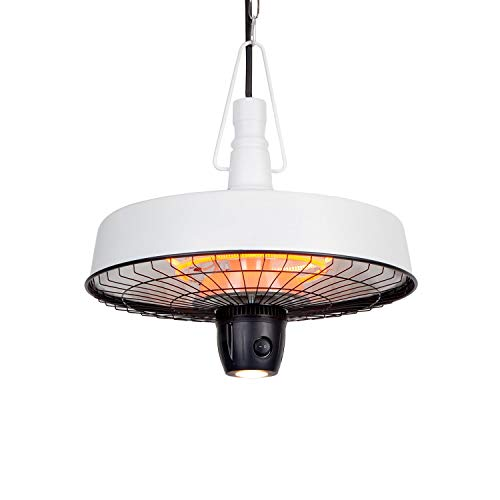 blumfeldt Camden Heat Deluxe Infrarot-Heizstrahler - IR ComfortHeat, Schutzklasse: IP24, LED-Lampe, Carbon-Heizelement, 3 Stufen: 1000 / 1500 / 2500 W, Deckeninstallation, Retro-Design, weiß