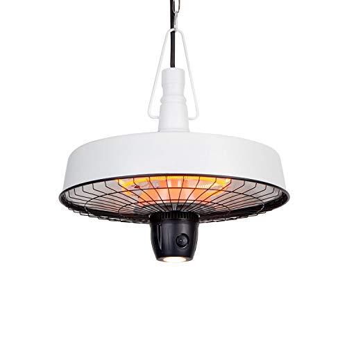 blumfeldt Camden Heat Deluxe Infrarot-Heizstrahler - IR ComfortHeat, Schutzklasse: IP24, LED-Lampe, Carbon-Heizelement, 3 Stufen: 1000 / 1500 / 2500 W, Deckeninstallation, Retro-Design, weiß
