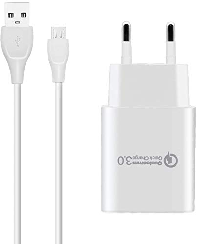BERLS 18W Caricatore rapido 5V 3A per Cavo USB Micro Quick Charge 3.0 per Samsung Galaxy A5 A7 (2015), Wiko, ASUS, LG, HTC, Huawei, Nexus, Sony, Kindle, Smartphone Android (Caricabatterie + Cavo)