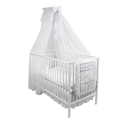 4tlg. Moskitonetz Betthimmel mit Himmelstange Babybett Baby-Moskitonetz 480cm (Weiß)