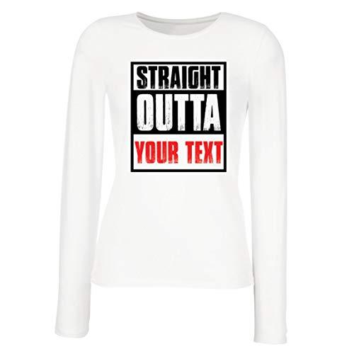 lepni.me Camisetas de Manga Larga para Mujer Directamente de su Propio Texto Personalizado Eslogan (Small Blanco Multicolor)