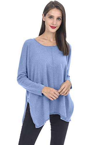 State Cashmere Oversized Tunic Crewneck Sweater 100% Pure Cashmere Long Sleeve Side Slits Pullover for Women (One Size, Baby Blue)