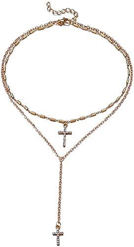 Collar de Color Dorado con Cruz de Cristal, Colgantes, Collar Bohemio de Doble Capa, joyería católica Religiosa Cristiana, Regalo