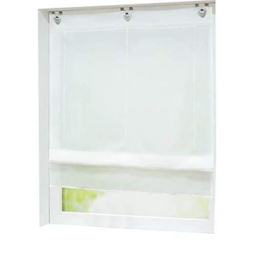 Joyswahl Voile Raffrollo mit Hakenaufhängung, ohne Bohren »Hanna« Schals Fenster Unifarbige Vorhänge BxH 80x130cm Weiß 1er Pack