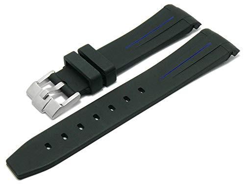 Meyhofer Uhrenarmband Redding 20mm schwarz Rubber Blauer Streifen passend für Rolex Rundanstoß MyCskkb7013