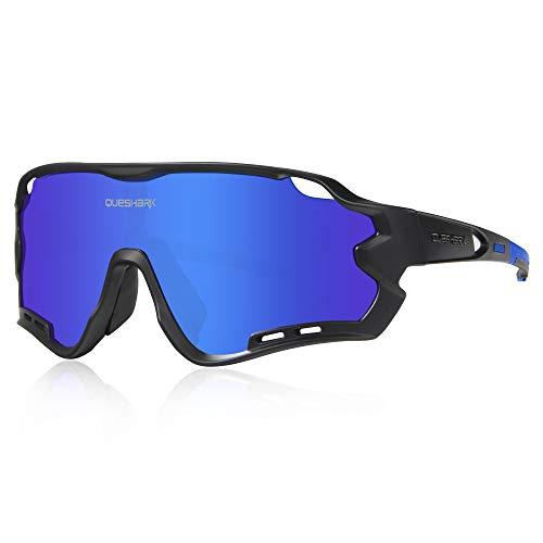 Queshark Gafas de Ciclismo para Hombre Mujer Bicicleta de Carretera 1 Lente Polarizada 3 HD UV400 Lente 10 Colores (Azul Negro)