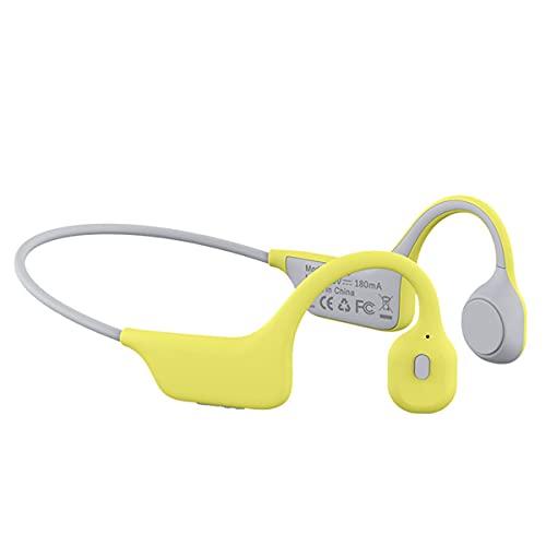 LBYB Auriculares Inalámbricos De Conducción De Titanio Bluetooth 5.0, Auriculares Deportivos Impermeables IPX6 con W/Mic Stereo HD para Correr Ciclismo,Amarillo