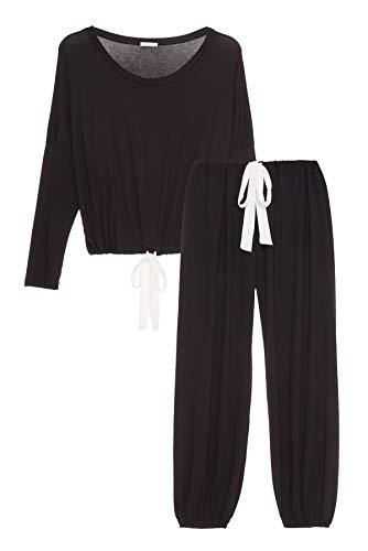 Gisele Modal Slouchy Set Black/Ivory