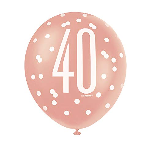 "6 or Rose /& Blanc Glitz 12/"" Latex Ballons-Age 40//40th Anniversaire"