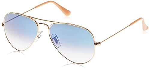 Ray-Ban RB3025 Classic Aviator Sunglasses, Gold/Light Blue Gradient, 55 mm