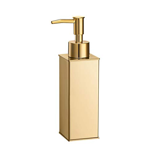 Soap Dispenser ,Stainless Steel Liquid Hand Free Standing (Gold, Square)