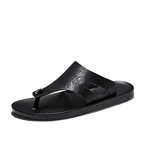 SUSHANCANGLONG Sandalia de sandalia atlética para hombre con flip-flop Comfort Casual Thong Sandalias de cuero de microfibra interior y al aire libre (Color : Black, Size : 43 EU)
