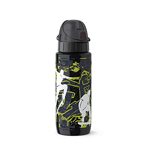 Emsa 518363 Trinkflasche Drink2Go Light Steel   0,6 L   Edelstahl   Auto-Close Verschluss   100% auslaufsicher & spülmaschinenfest   Robust & federleicht   Skateboard