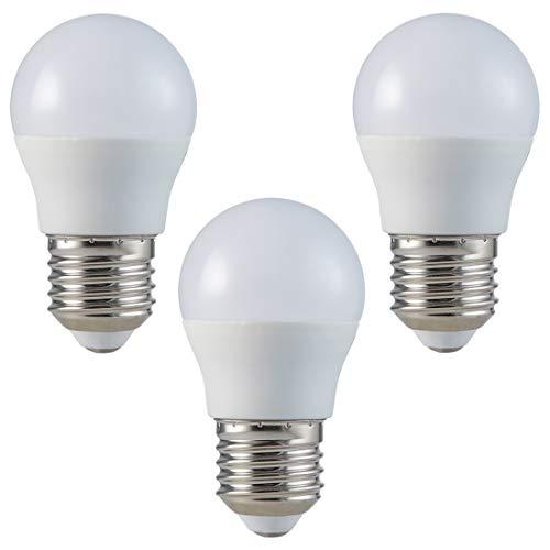 ZONE - Juego de bombillas LED (E27, G45-5,5 W, luz blanca cálida, 2700 K, 470 lm, equivalente a 40 W, ángulo de haz de 180°, 3 unidades)