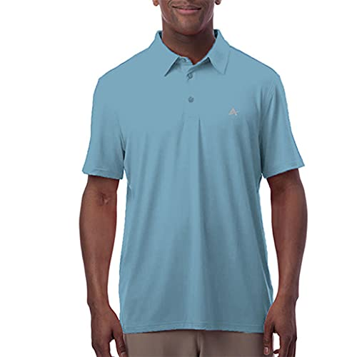 Arctic Cool Men's Instant Cooling Moisture Wicking Performance UPF 50+ Polo   Lightweight Breathable Polo for Golf, Office, Work, Dress, Dinner, Coastal Blue, XL