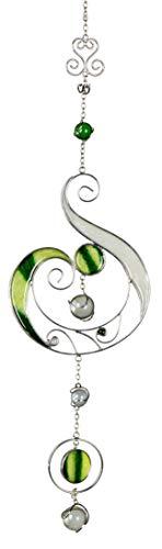 dekojohnson Moderne Fensterdeko hängend Fensterhänger Dekohänger Glas-Bild Tiffany Grün/Weiß/Silber Muttertag 44cm
