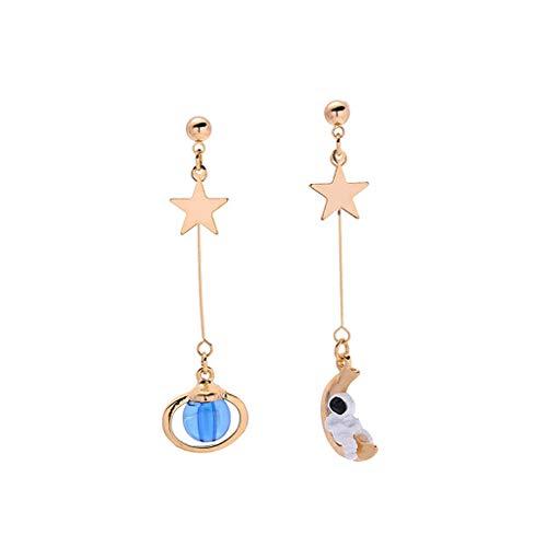 VVXXMO 1 par de pendientes de astronauta de dibujos animados bonitos para mujeres y niñas, planeta asimétrico, estrella, Luna, pendientes, accesorios de joyería de moda