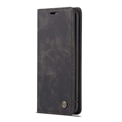 JMstore Funda Compatible con Samsung Galaxy S7 Edge, Magnético Carcasa Funda Móvil Billetera Cuero Funda con Tapa Libro Caso Soporte Plegable (Negro)
