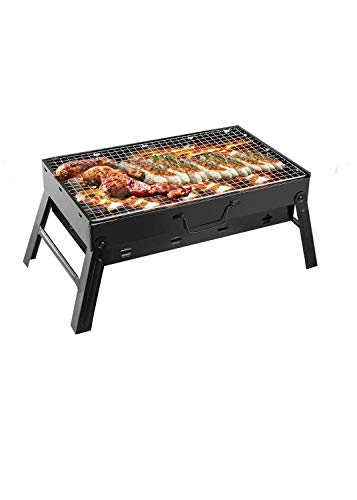 Portable Charcoal Grill, TeqHome Foldable Barbecue Grill Small BBQ Grill for Outdoor, Backyard, Camping, 17 x 10 x 11 inch